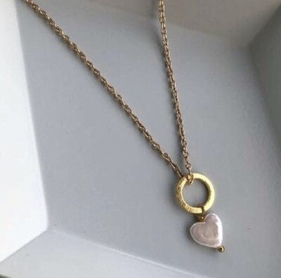LWL Pearl Heart Necklace Gold