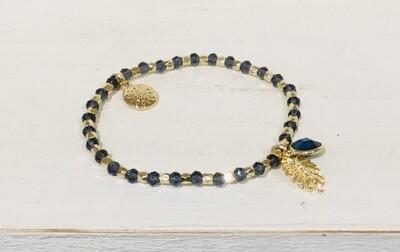 Pom Bracelet Blue Bead and Leaf