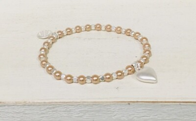 Pom Bracelet Pink Pearl and Silver Bead Heart