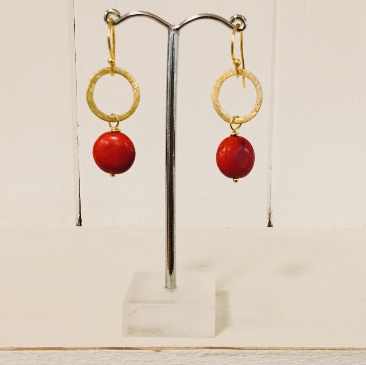 LWL Circle Drop Earrings Red