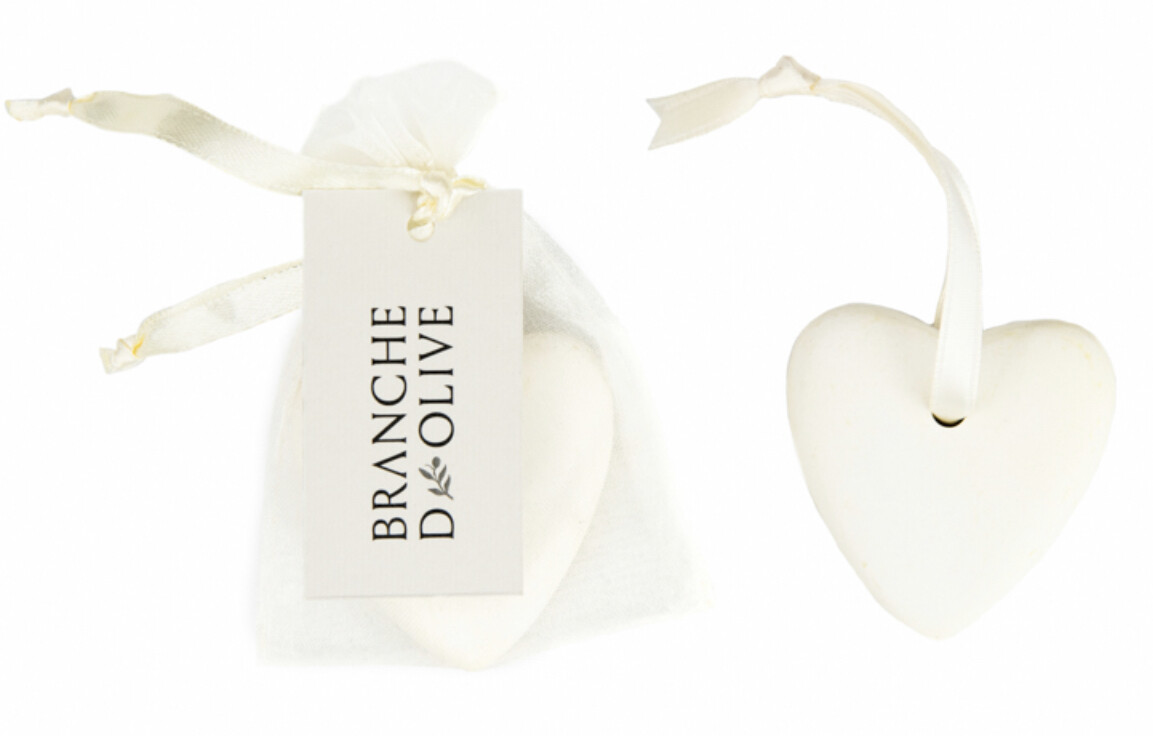 Branche D'Olive Ceramic Stone Heart - Assorted Fragrances