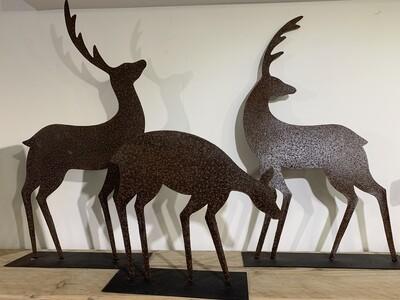 Set of 3 metal Deer