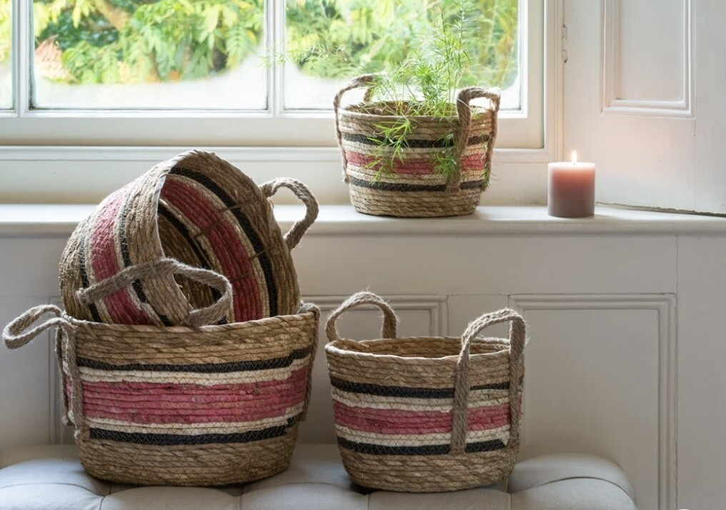 Corn and Straw Basket with Handles in Natural & Rose - Available in 4 sizes