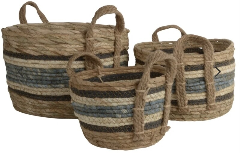 Corn and Straw Basket with Handles in Natural & Blue Stripe - Available in 3 sizes