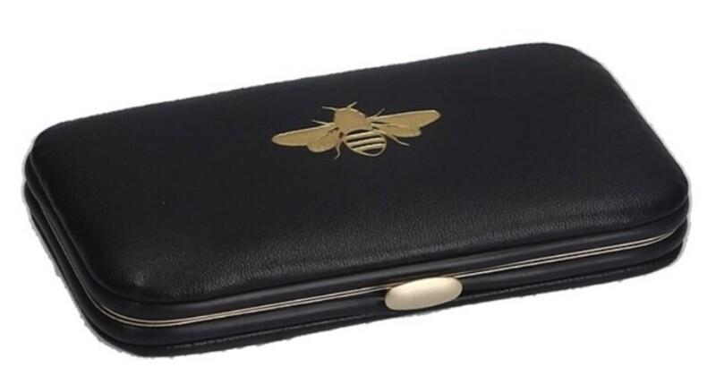 Gisela Graham Black Gold Bee Manicure Set