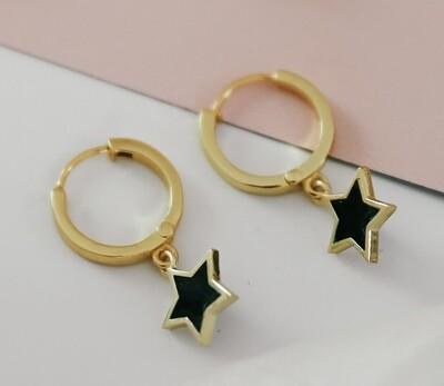 Black Enamel Star Earrings