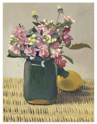Canvas Print - A Bouquet of Flowers and a Lemon