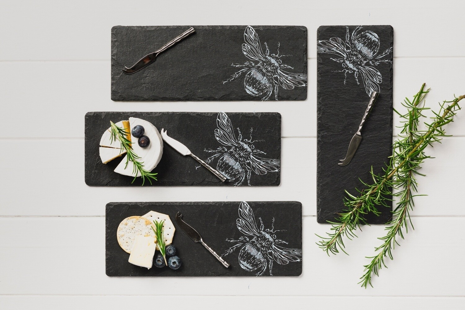 4 Etched Mini Bee Cheese Board & Knife Set