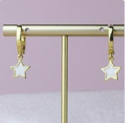 White  Enamel Star Earrings