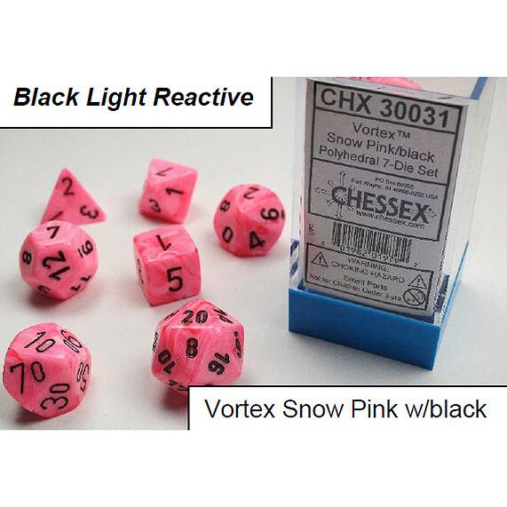 VORTEX SNOW PINK/BLACK BLACK LIGHT REACTIVE 7-DADI SET