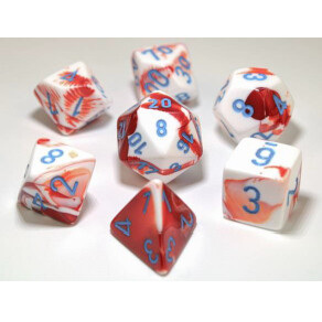 GEMINI POLYHEDRAL RED-WHITE/BLUE 7-DADI SET
