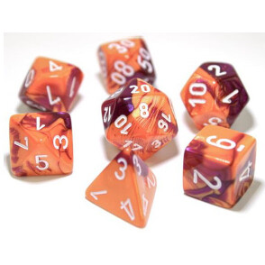 GEMINI POLYHEDRAL ORANGE-PURPLE/WHITE 7-DADI SET