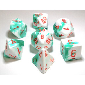 GEMINI POLYHEDRAL MINT GREEN-WHITE/ORANGE 7-DADI SET
