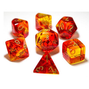 GEMINI POLYHEDRAL RED-YELLOW/GOLD 7-DADI SET