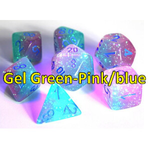 GEMINI POLYHEDRAL GEL GREEN-PINK/BLUE 7-DADI SET