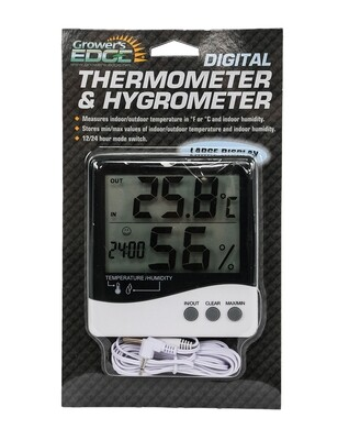 Growers Edge Large Display Thermometer/Hygrometer