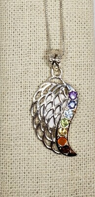 Silver wing with chakra stones