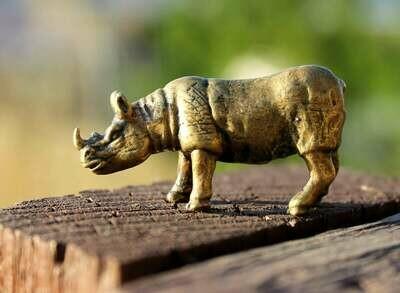 Collectible Brass Rhinoceros Miniature Art Figurine Handmade Miniature Animal
