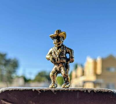 Brass Miniature Wild West Cowboy Shooter Figurine Collectible Souvenir