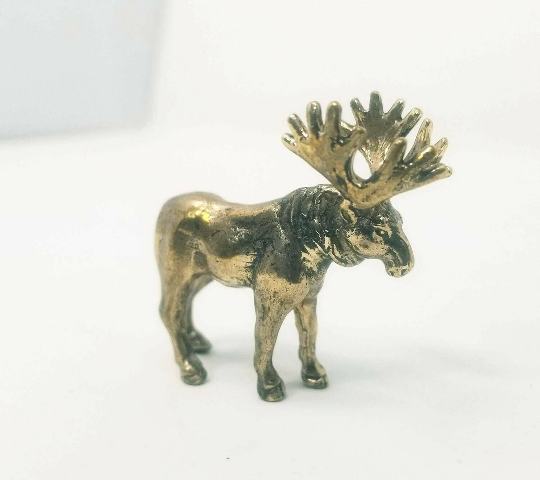 Miniature Moose From Brass - Collectible Figurine Vintage - Handmade suvenir