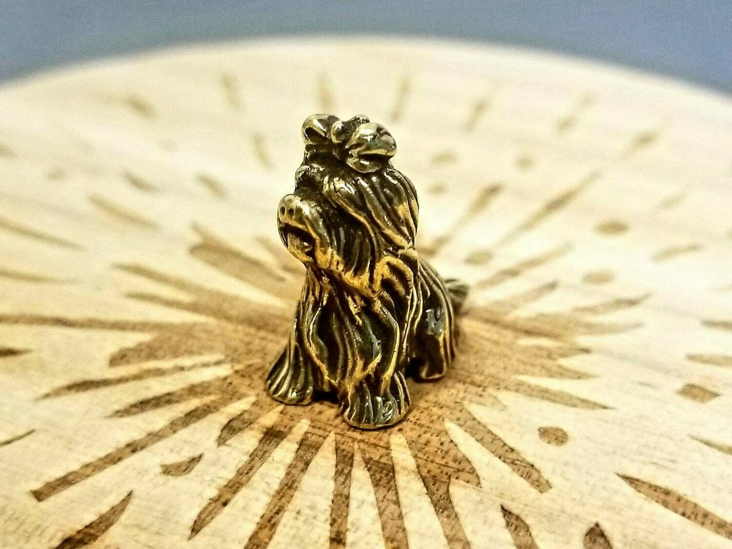 Brass Miniature Dog With Bow Collectible Miniature Figurine Lapdog
