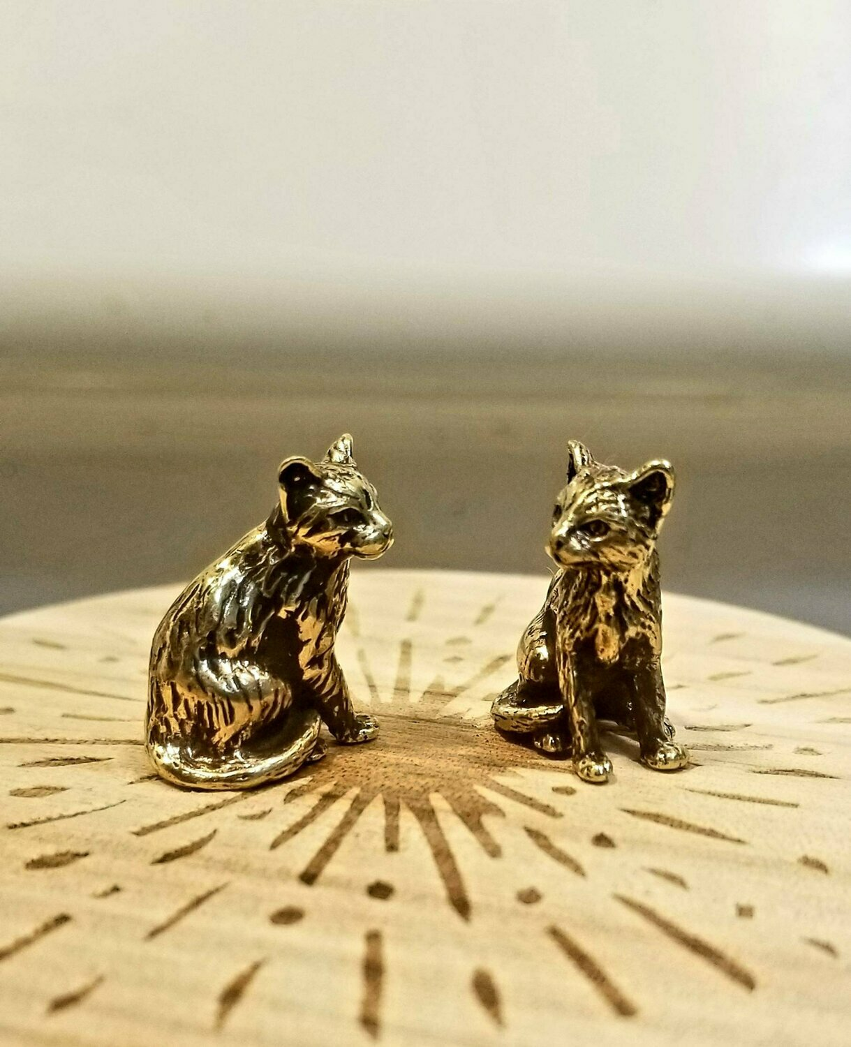 Brass Animal Seating Cat Brass Collectible Figurine Handmade Miniature