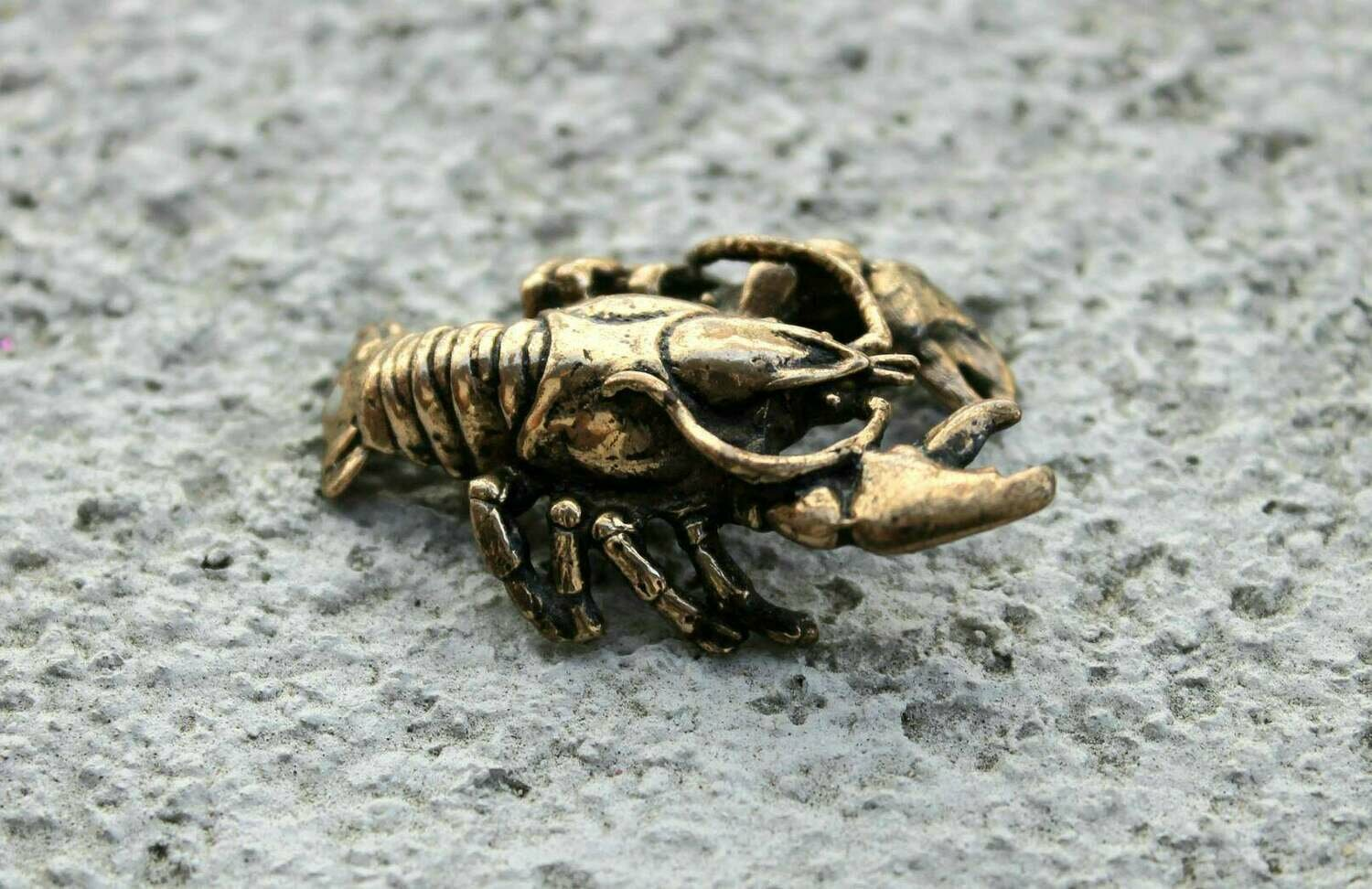 Brass Crayfish Miniature Home Decorating Collectible Sea Animal Figurine Handmade Souvenir