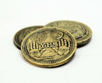Yes/No Brass Flipping Coin Question Answer