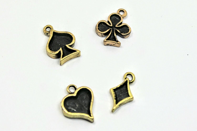 4 pcs Brass Play Cards
