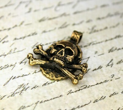 Skull With Crossed Bones Brass Pendant