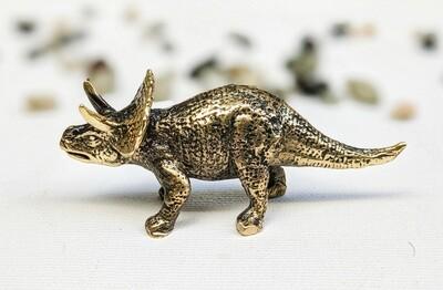 Triceratops Brass Animal Figurine Handmade Art Collectible Miniature