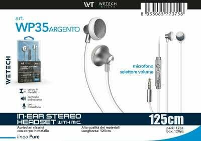 8033065773758 IN-EAR STEREO HEADSET CON CONTROLLO DEL VOLUME E MICROFONO