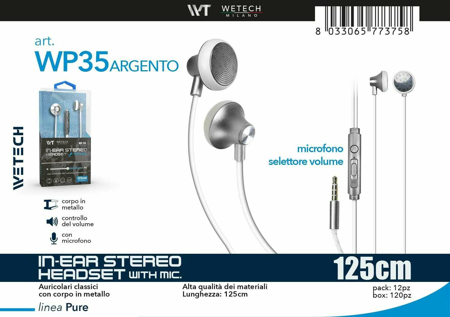 8033065773758 IN-EAR STEREO HEADSET CON CONTROLLO DEL VOLUME E MICROFONO