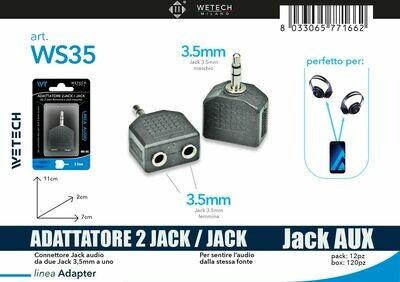 ADATTATORE AUDIO DA 2JACK 3,5MM-1 JACK 3,5MM 8033065771662 ADATTATORE AUDIO DA 2JACK 3,5MM-1 JACK 3 MM