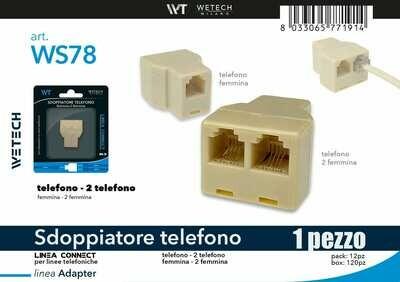 ADATTATORE SDOPPIATORE TELEFONO F-F 8033065771914 ADATTATORE SDOPPIATORE TELEFONO F-F