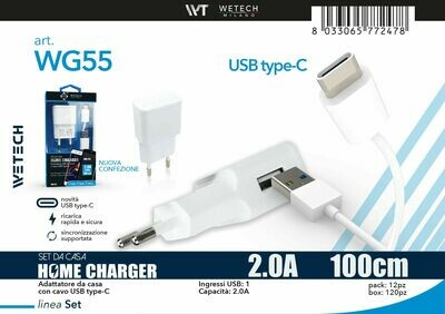 8033065772478 SET CASA ADATTATORE USB 1,4A + CAVO USB C
