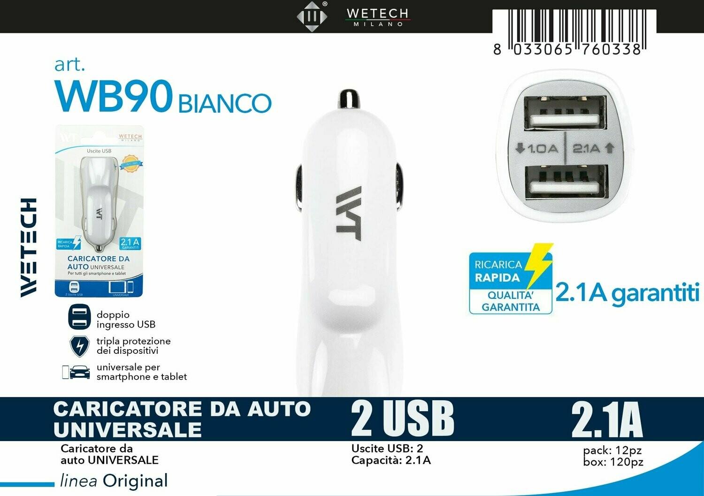 ADATTATORE AUTO 2 USCITE USB 2.1A BIANCO 8033065760338 ADATTATORE AUTO 2 USCITE USB 2.1A ADATTATORE