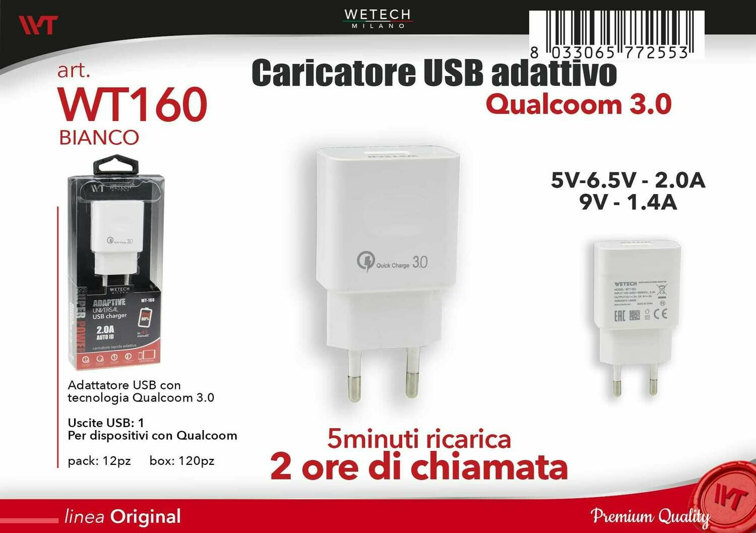 ADATTATORE USB QUICK CHARGE 3,0 2,0A 8033065772553 ADATTATORE USB QUICK CHARGE 3,0 2 0A