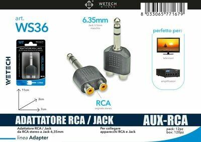 ADATTATORE AUDIO 2RCA-JACK 6,35MM 8033065771679 ADATTATORE AUDIO 2RCA-JACK 6 AUDIO