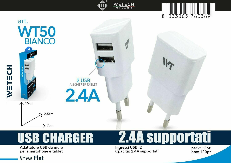 CARICABATTERIE DA VIAGGIO ULTRACOMPATTO CON PRESA USB 4.75V-5.0V 2100MA 2 USCITA