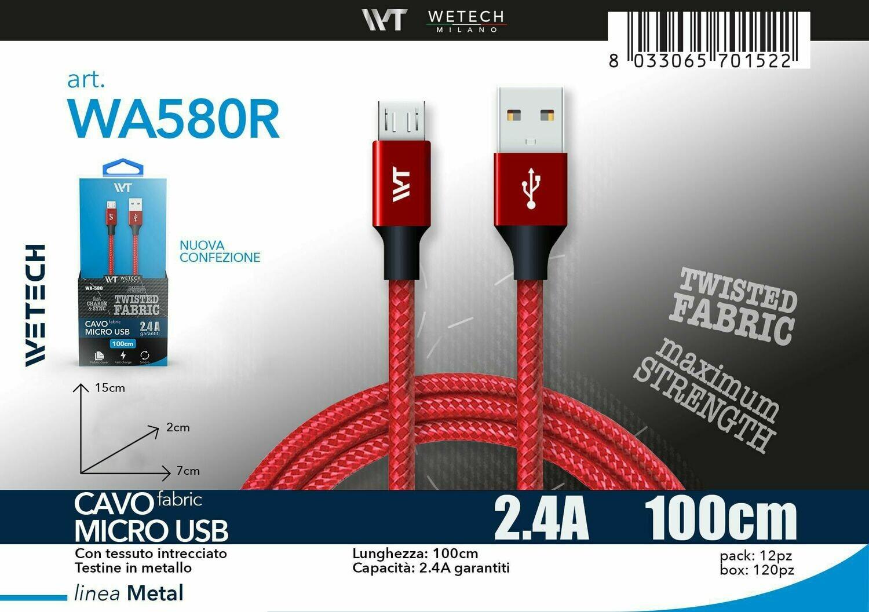 Cavo micro USB Fabric 2.4A 100cm - rosso