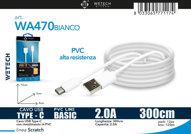 Cavo USB-C BASIC 2.0A 300cm - bianco