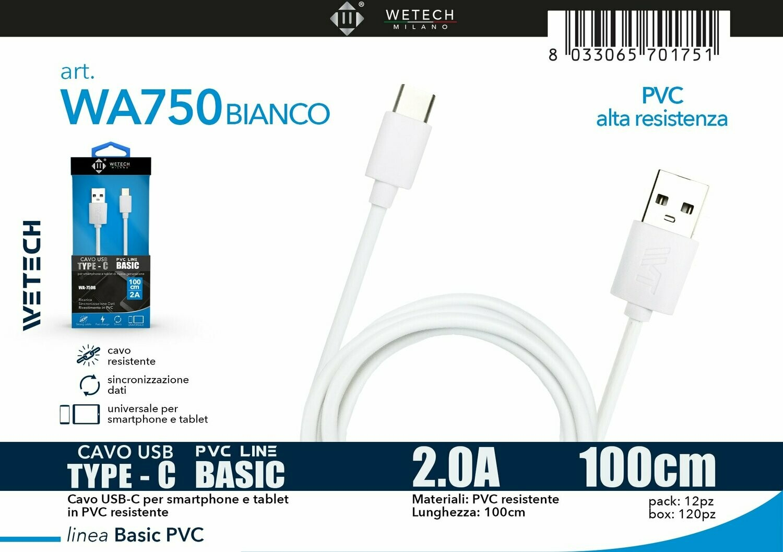Cavo USB-C BASIC in PVC 2.0A 100cm