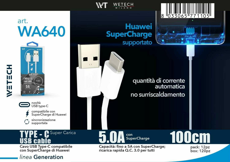Cavo USB-C QC3.0 / SuperCharge 5.0A 100cm