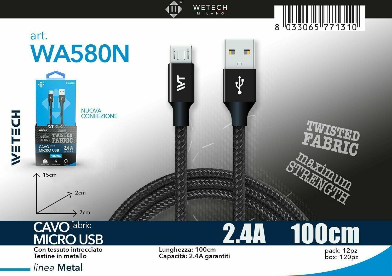 Cavo micro USB Fabric 2.4A 100cm - nero