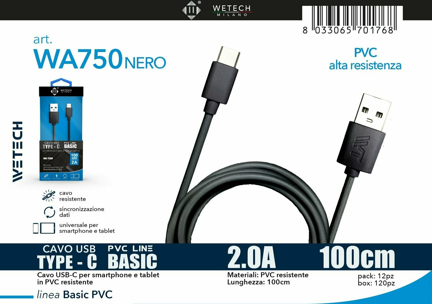 Cavo USB-C BASIC in PVC 2.0A 100cm