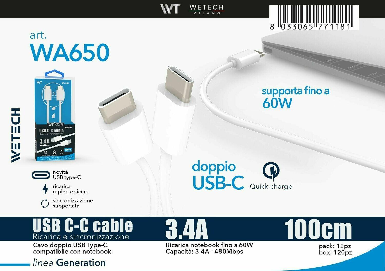 CAVO USB C-C QUICKCHARGE 3.4A 1MT PER SMARTPHONE E NOTEBOOK