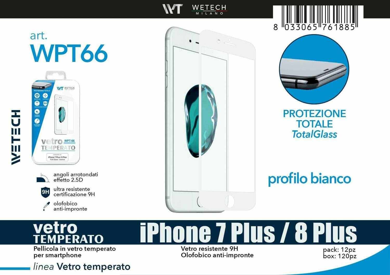 Vetro temperato FULL SCREEN comp. iPhone 7 Plus/8 Plus -bianco