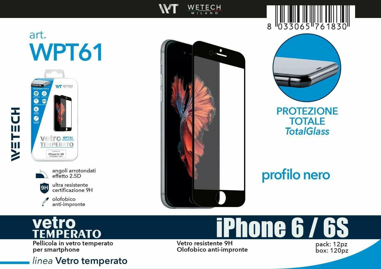 Vetro temperato FULL SCREEN comp. iPhone 6/6S -nero