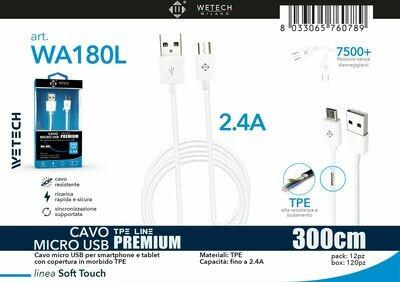 8033065760789 CAVO DATI USB PER MICRO V8 3MT